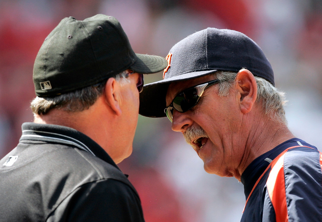 . Detroit Tigers manager Jim Leyland argues with first base umpire Ed Montague over Los Angeles Angels\' Garret Anderson three-run home run during the eighth inning of their baseball game in Anaheim, Calif., Saturday, July 28, 2007. (AP Photo/Chris Carlson)