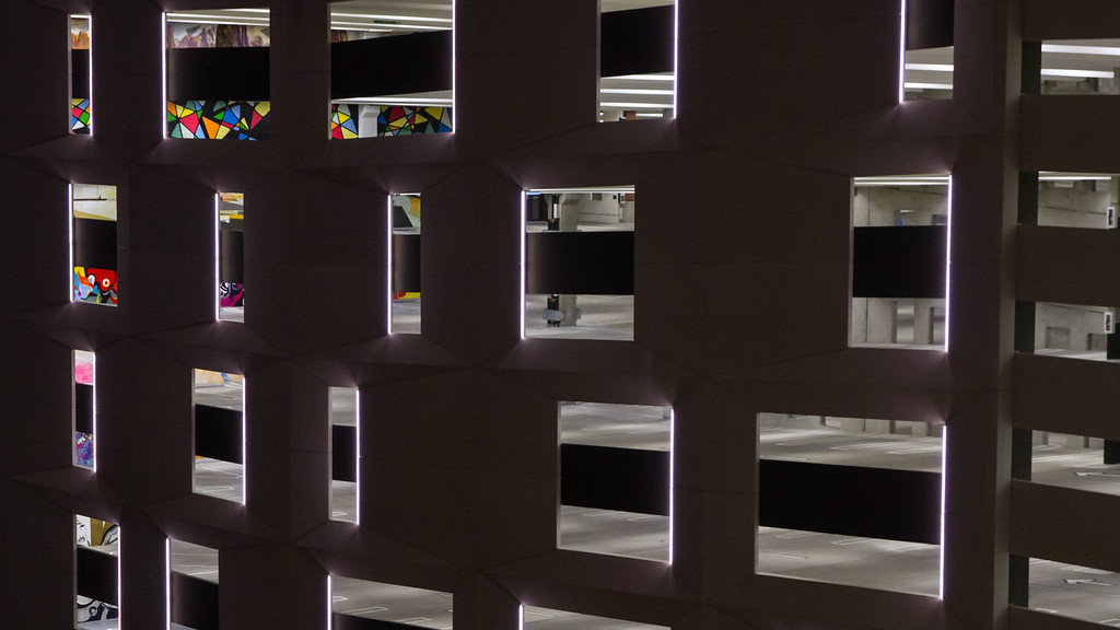 """. \""""The Z\"""" parking garage, which is now an international art installation, open to the public."""
