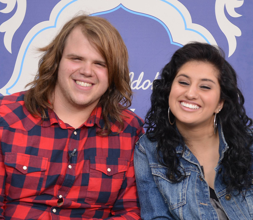 . AMERICAN IDOL: Finalists Caleb Johnson (L) and Jena Irene (R) at the AMERICAN IDOL press conference Monday, May 19 at the Nokia Theater in Los Angeles, CA. CR: Michael Becker / FOX.