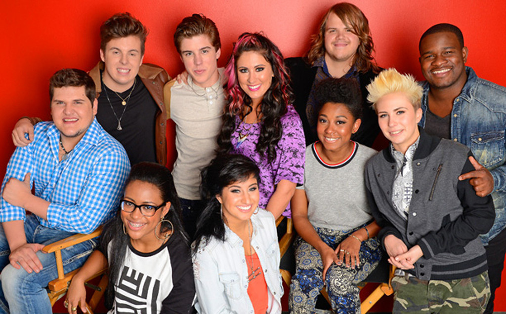". The ""American Idol\"" season 13 top 10 are (by alphabetic order) C.J. Harris, Jena Irene, Caleb Johnson, Jessica Meuse, MK Nobilette, Alex Preston, Dexter Roberts, Majesty Rose, Malaya Watson, and Sam Woolf. Woolf is at the back in this photo, second from left, Malaya Watson is kneeling at left front and Jena Irene is beside her. Photo courtesy of Fox Broadcasting"