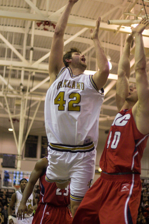 . Petros attempts a lay-up. Photos by Dylan Dulberg/The Oakland Press