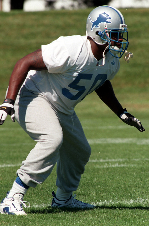 . Detroit Lion Chris Claiborne (50) during a recent practice at the Detroit Lions practice field in Pontiac.