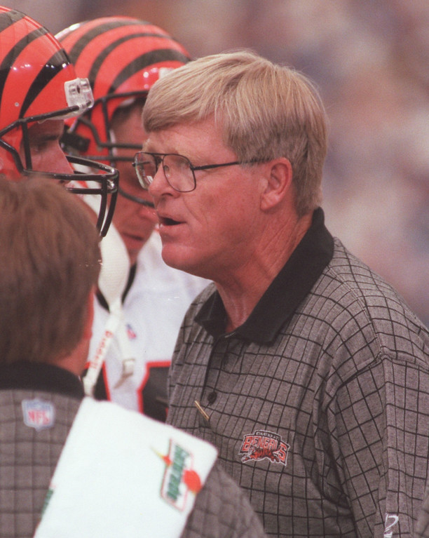 . Cincinnati Bengals head coach Bruce Coslet. The Bengals beat the Detroit Lions, 34-28 in overtime.