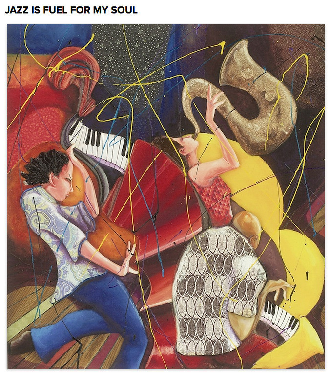 """. Marcus Glenn\'s \""""Jazz is Fuel for My Soul,\"""" 2006. Giclee in color on canvas with hand embellishment by the artist. Photo: Park West Gallery"""