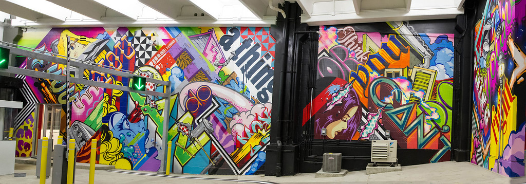 """. The left side of a mural created by the artist know as Revok in \""""The Z\"""" parking garage in downtown Detroit."""