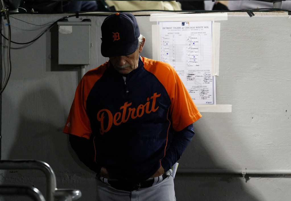 . Detroit Tigers manager Jim Leyland looks down in the dugout as he watches his team play against the Chicago White Sox during the fourth inning of a baseball game in Chicago, Sunday, Sept. 19, 2010. (AP Photo/Nam Y. Huh)
