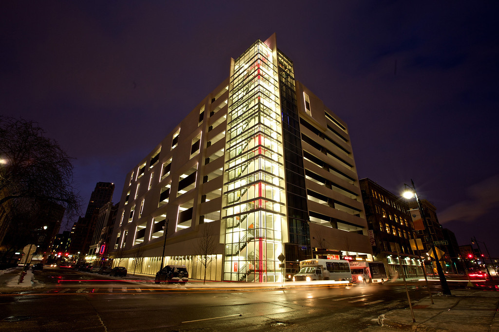 . Winter photos of The Z, parking structure at night.