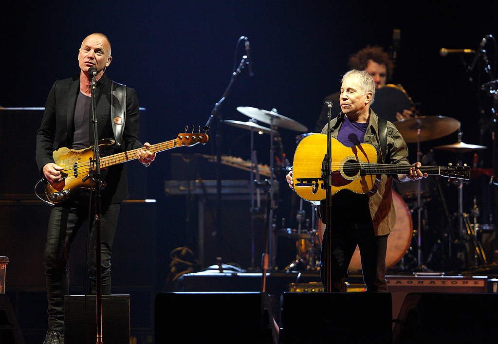 . Sting and Paul Simon perform in their On Stage Together tour at The Palace of Auburn Hills, Wednesday, Feb. 26, 2014. Photo by Ken Settle