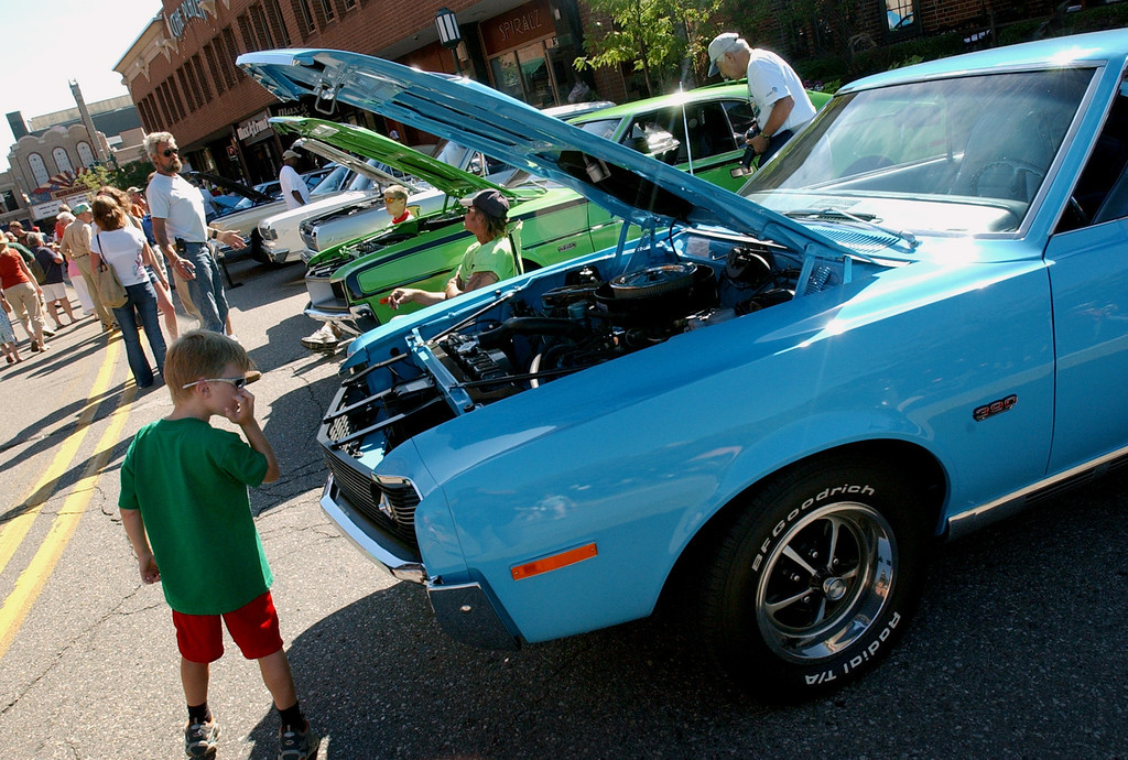 . Fans look at classic cars parked in downtown Birmingham.  Photo taken on Saturday, August 16, 2008, in Birmingham, Mich.  (The Oakland Press/Jose Juarez)