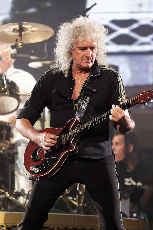 . Brian May performs with Queen + Adam Lambert at The Palace on 7-12-14. Photo by Ken Settle
