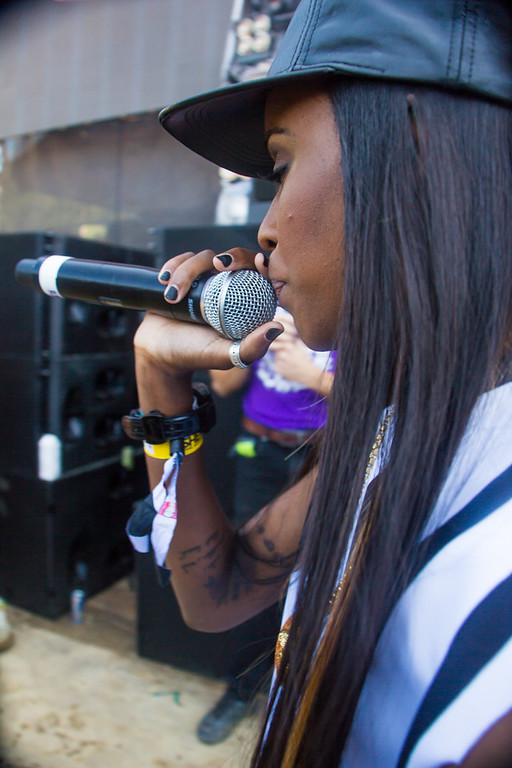 . Rapper Angel Haze left the stage a few times to interact with the fans in the front row of the Perry\'s Stage during her day 3 set.