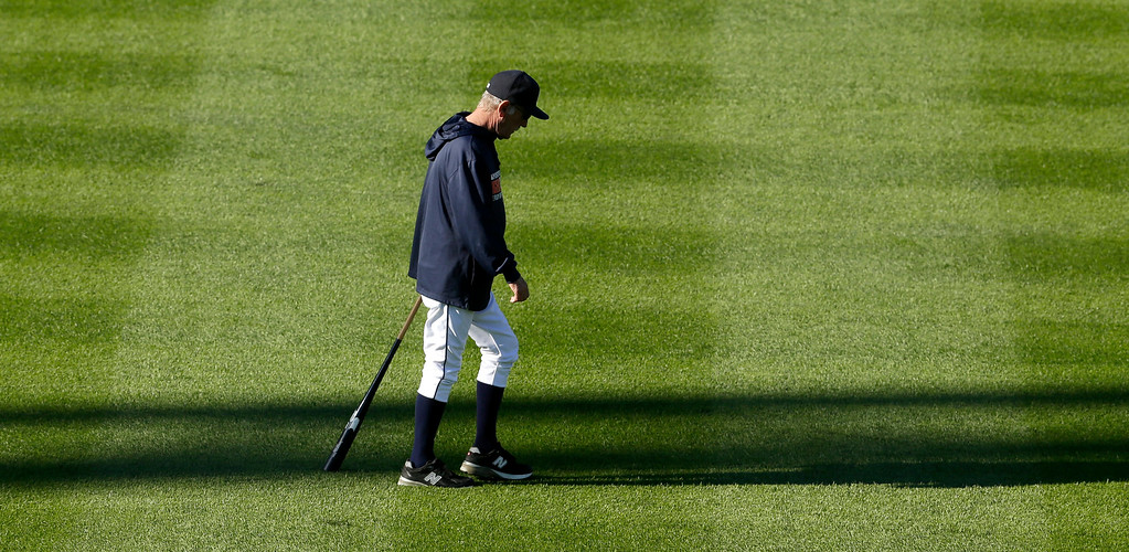 . Detroit Tigers manager Jim Leyland walks across the outfield during practice at Comerica Park for Game 3 of the American League baseball championship series against the Boston Red Sox Monday, Oct. 14, 2013, in Detroit. (AP Photo/Charlie Riedel)
