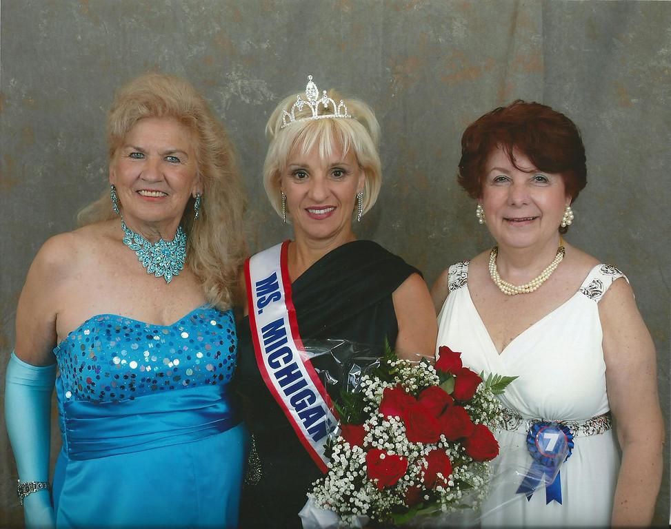 . Ms. Senior Michigan.  Charlotte Werner Ambrose, left,  Rosaline Contrera Guastella and Kaye Rittinger
