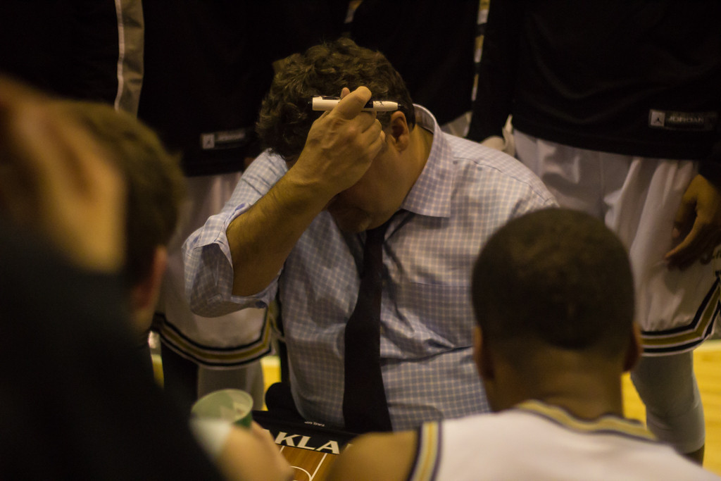 . Oakland University Head Coach Greg Kampe during a timeout. Photos by Dylan Dulberg/The Oakland Press