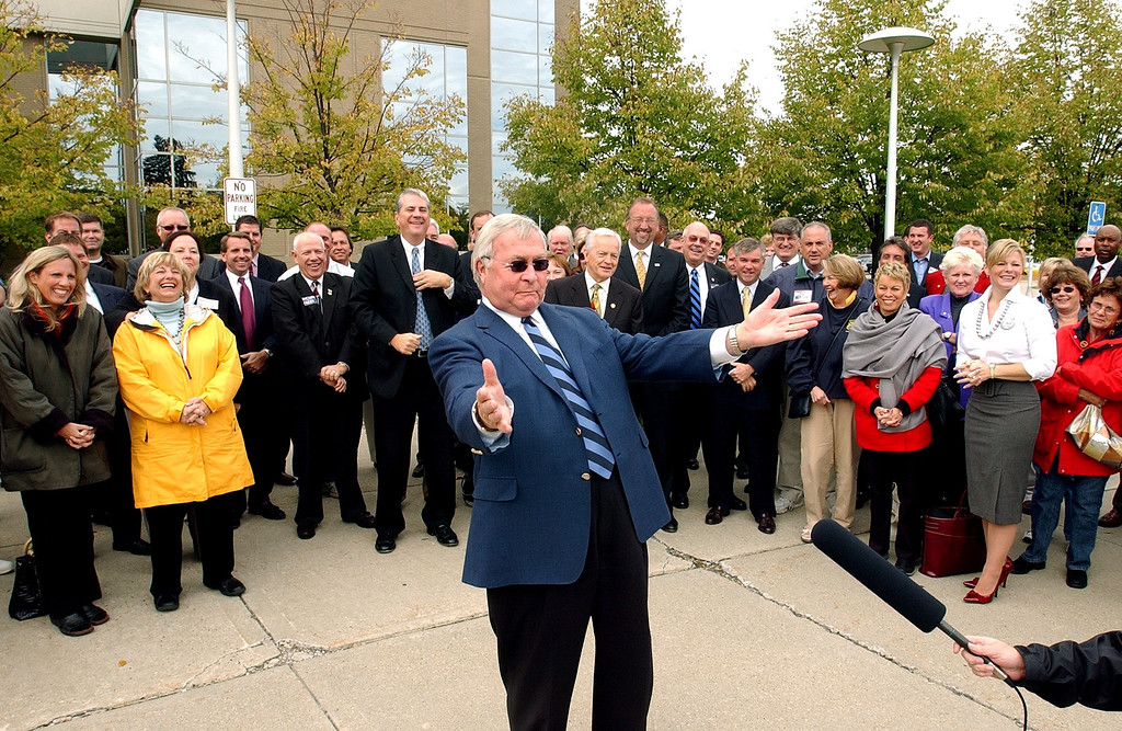 . AAOakland County Executive L. Brooks Patterson speaking at a GOP  rally near the prosecutors office in Pontiac. The Oakland Press/TIM THOMPSON