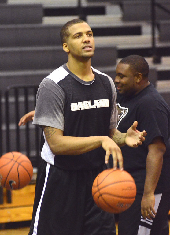 . Oakland University guard Duke Mondy during practice Tuesday.    Tuesday, November 5, 2013.  The Oakland Press/TIM THOMPSON