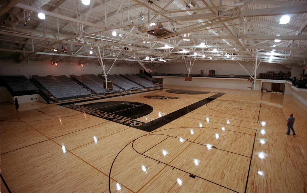 . The basketball court at the new sports arena/facility at Oakland University.