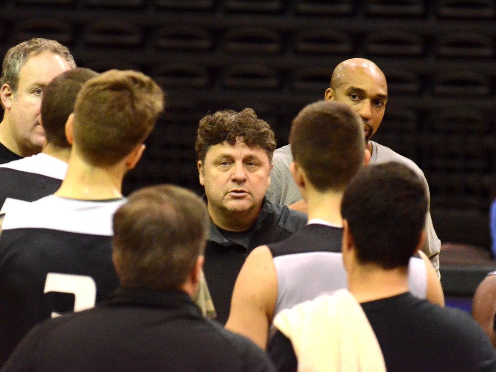 . Oakland University basketball head coach Greg Kampe during practice Tuesday.    Tuesday, November 5, 2013.  The Oakland Press/TIM THOMPSON