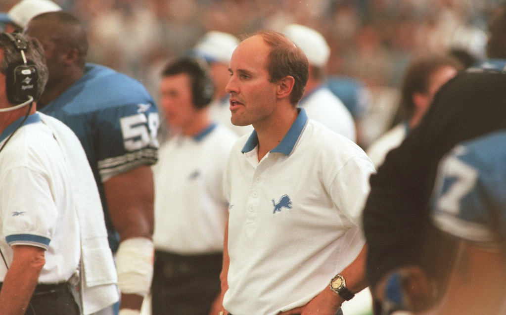 . Detroit Lions Chaplain Dave Wilson watch play during Sunday\'s game against the Cincinnati Bengals at the Pontiac Silverdome. Lions lost 34- 28 in overtime.
