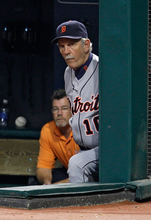 . Detroit Tigers manager Jim Leyland watches the Tigers play the Cleveland Indians in the third inning in a baseball game, Wednesday, Sept. 23, 2009, in Cleveland. (AP Photo/Tony Dejak)