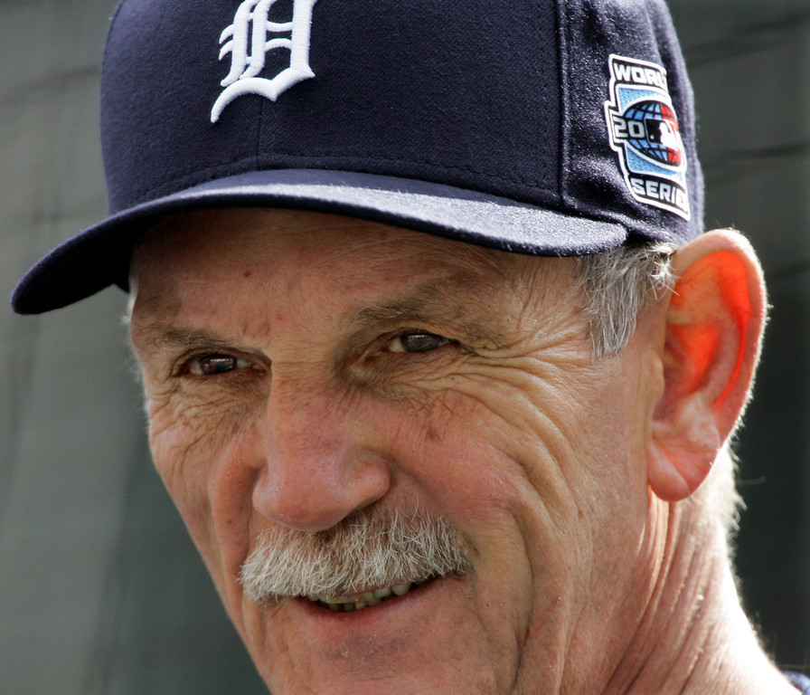 . Detroit Tigers Jim Leyland wears a World Series Tigers\' ball cap while watching his team during their batting practice in Detroit, Friday, Oct. 20, 2006. The American League Champion Detroit Tigers will meet the National League Champion St. Louis Cardinals in Game 1 of baseball\'s World Series on Saturday, Oct. 21 in Detroit.  (AP Photo/Morry Gash)