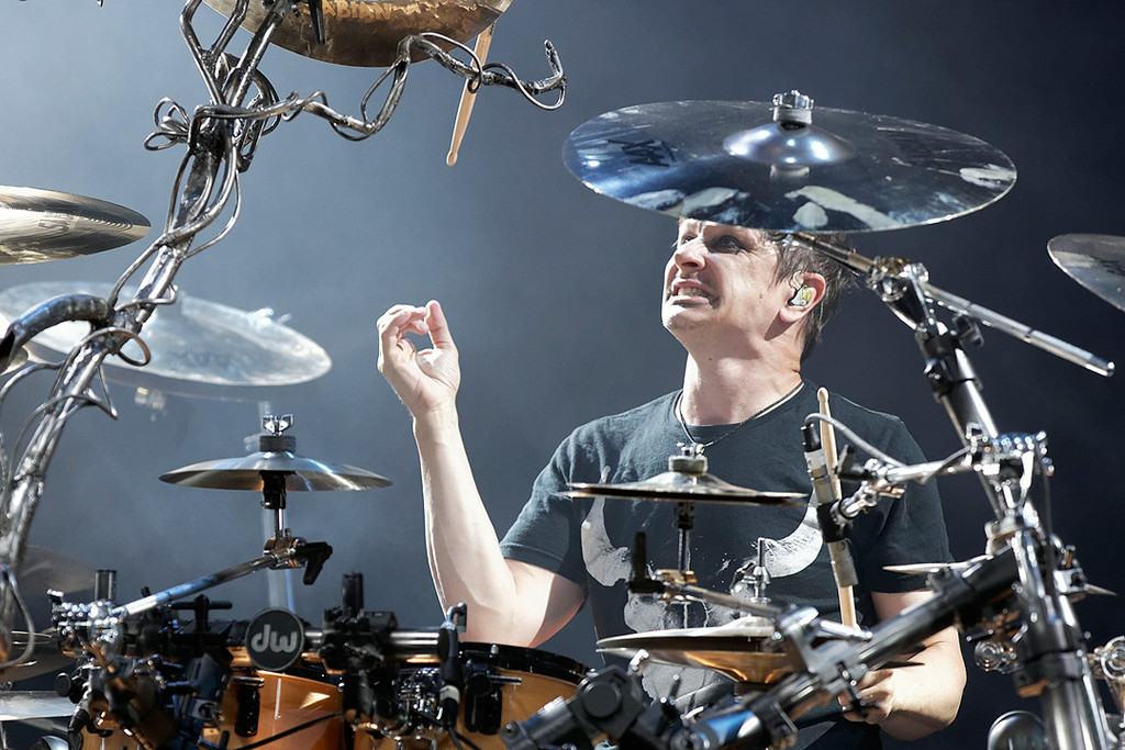 . Korn\'s Ray Luzier performs at Mayhem Festival on Thursday, July 18, 2014, at DTE Energy Theatre, Independence Township. Photo by Ken Settle