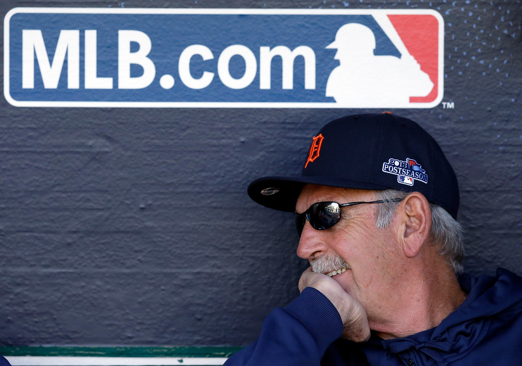. Detroit Tigers manager Jim Leyland smiles in the dugout before Game 1 of baseball\'s American League division series, against the Oakland Athletics in Oakland, Calif., Friday, Oct. 4, 2013. (AP Photo/Ben Margot)