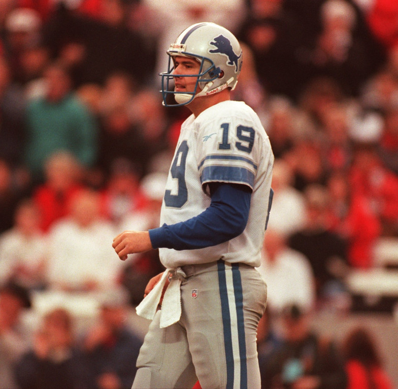 . Lions QB , Scott Mitchell, pre-injury, in game verses the Tampa Bay Buccaneers in first round playoff loss to Bucs 20-10.