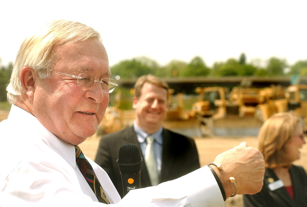 . Oakland County Executive L. Brooks Patterson speaking during the groudbreaking ceremony for the future headquarters of US Farathane in the Oakland Technology Park in Auburn Hills. The Oakland Press/TIM THOMPSON