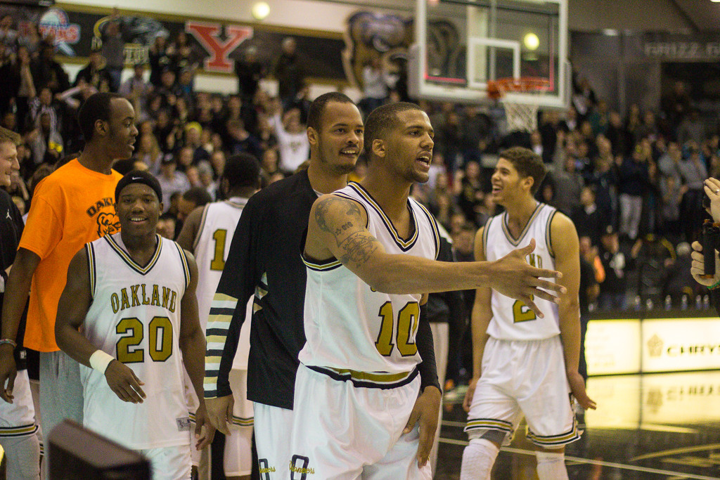 . #10 Duke Mondy\'s buzzer beater three pointer won the game for the Oakland University Golden Grizzlies. The final score was 76-75. Photos by Dylan Dulberg/The Oakland Press