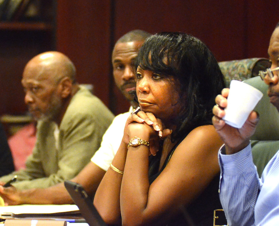 . Vernita Duvall at the Committee of 50 meeting, held at Welcome Missionary Baptist Church in Pontiac.    Tuesday, July 23, 2013.  The Oakland Press/TIM THOMPSON