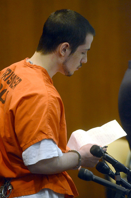 . Tucker Cipriano reads his prepared statement before being sentenced to life with no parole for the beating death of his father Robert, in the courtroom of Oakland County Circuit Court Judge Shalina Kumar,  Wednesday July 24, 2013. (Oakland Press Photo:Vaughn Gurganian)