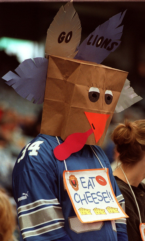 . Scott Mullins of Holly dressed as a Turkey for the Detroit Lions/ Green Bay Packers Thanksgiving Day game at the Pontiac Silverdome.  Lions lost 29-27 making them 0-10 for the season.