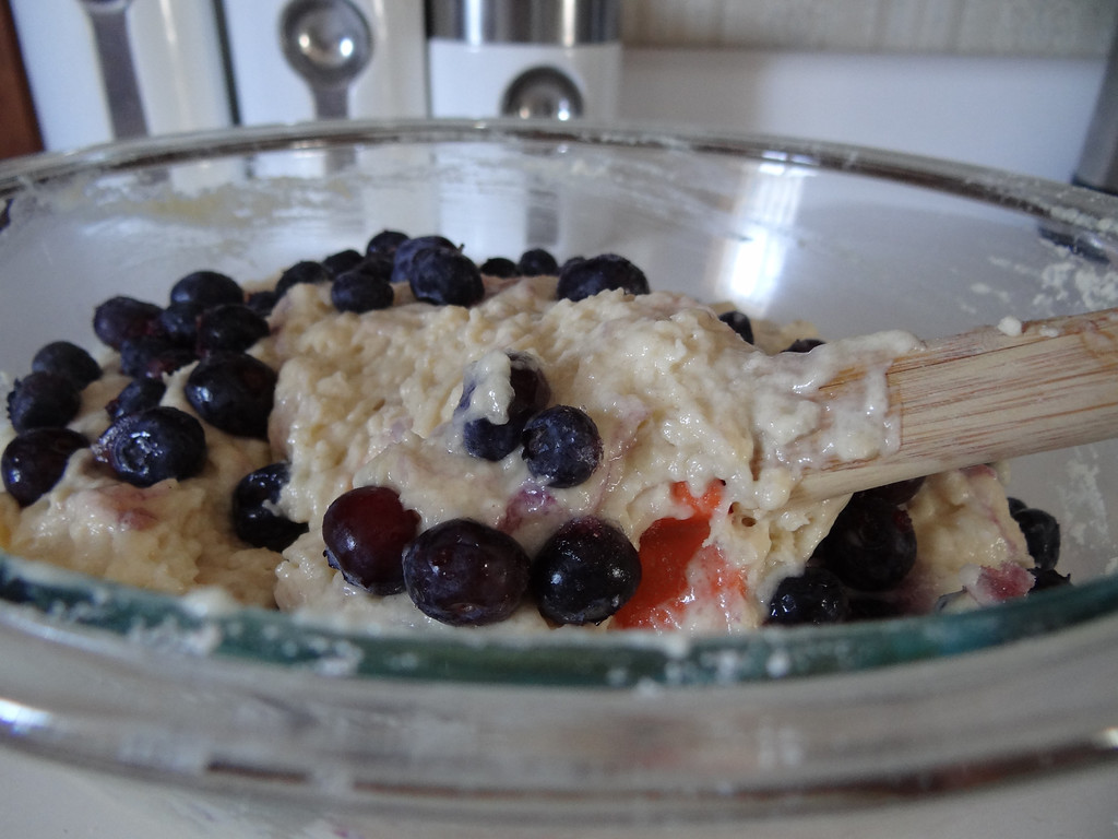. Mix just enough to spread blueberries throughout your mixture.