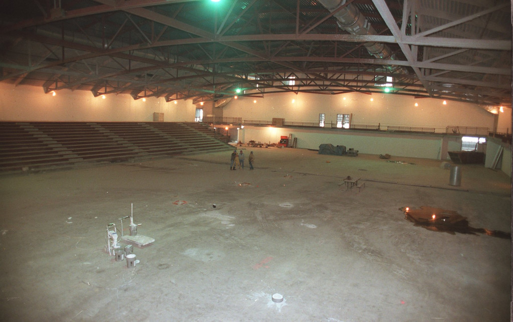 . The new basketball arena, under construction at the new Oakland University Sports Center. The Center is to replace the old Lepley Sports Center.