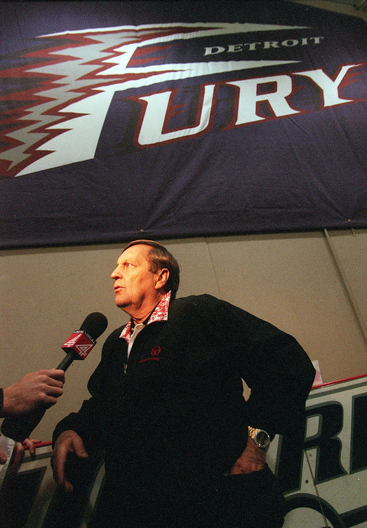 . Detroit Fury head coach Mouse Davis is interviewed after a training camp session at the Troy Sports Center in Troy, MIch., Tuesday, March 20, 2001.  Davis is a former Detroit Lions offensive coordinator.
