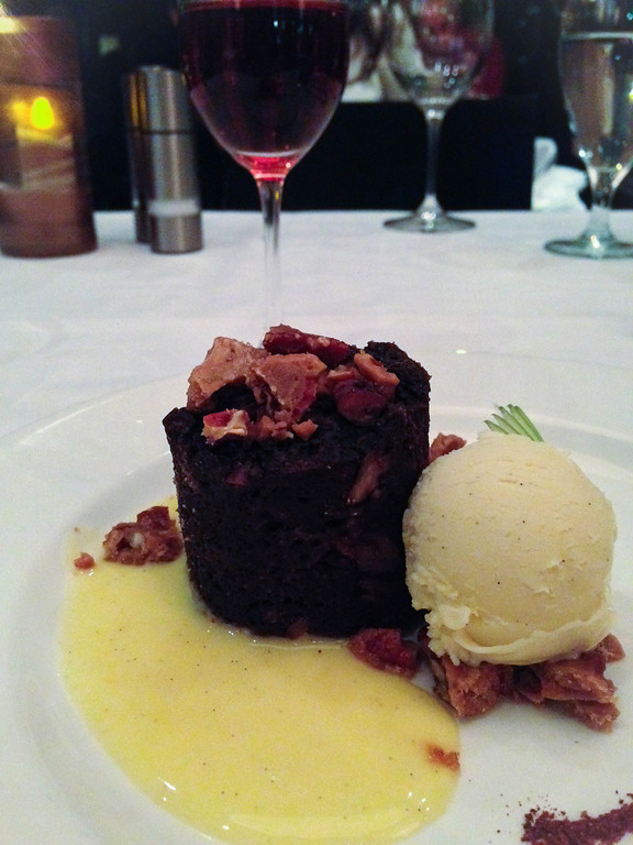 . The chocolate bread pudding with candied walnuts was decent, but certainly not as memorable as the rest of the meal at The Stand Gastro Bistro. (Photo by Lori Yates)