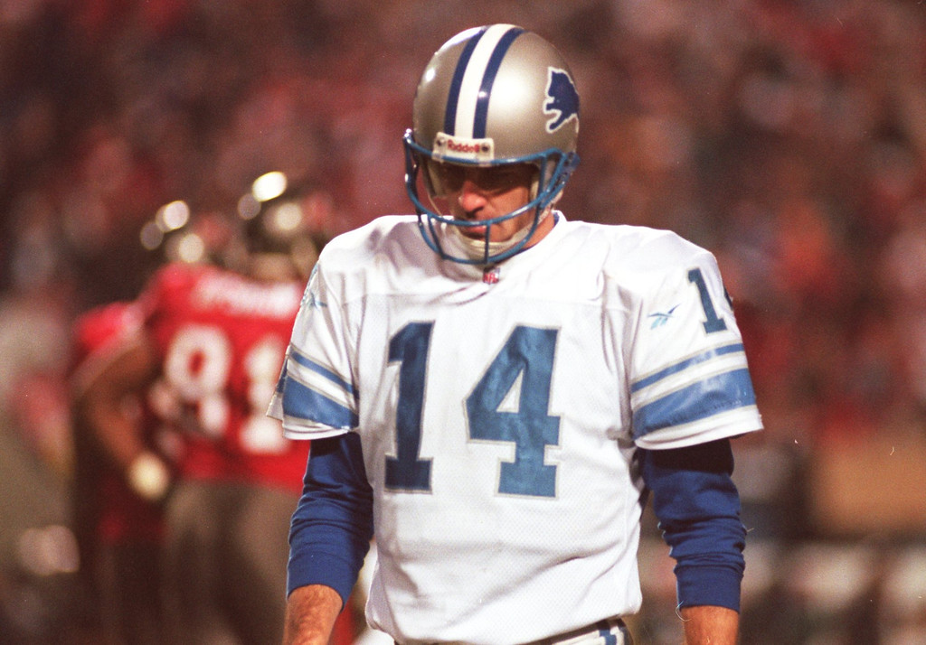 . Detroit LIons secondary quarterback, #14 Frank Reich, stepped in and scored for the Lions after replacing an injured Scott Mitchell in the LIons\' playoff loss to Tampa Bay in Tampa 12-28-97.