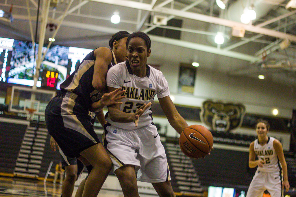 . #23 Kim Bee attempts to move past her defender. Photo by Dylan Dulberg