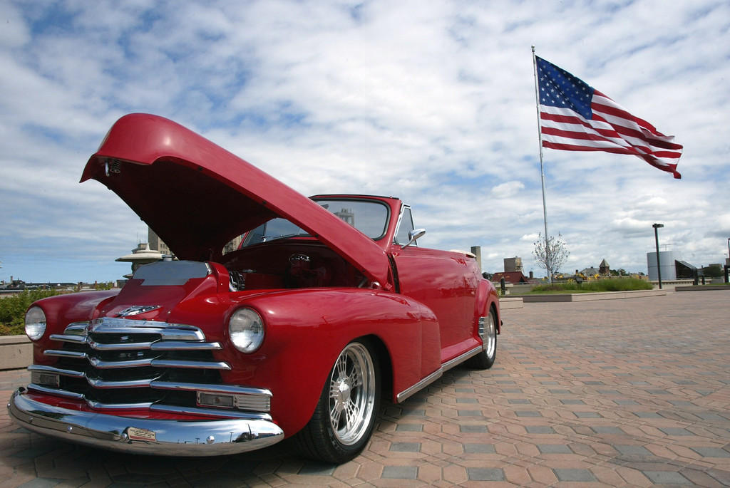 . Groveland Township\'s Bill McInintch\'s 1948 Chevy Fleetmaster is displayed at the Phoenix Plaza Amphitheater in downtown Pontiac in celebration of the Dream Cruise and the grand reopening of the concert venue. Photographed Thursday, August 19, 2004.