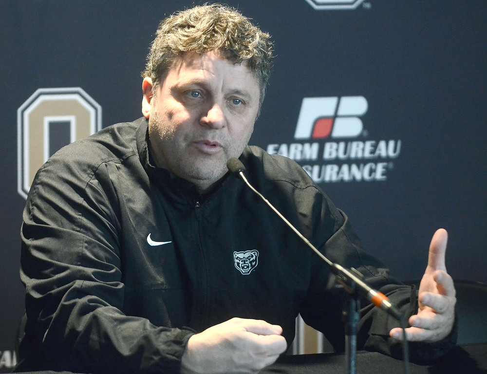 . Greg Kampe, head men\'s basketball caoch at Oakland University, talks about his team\'s chances at this weekend\'s Summit League Championship at Sioux Falls, SD, pictured Wednesday March 6, 2013. (Oakland Press Photo:Vaughn Gurganian)