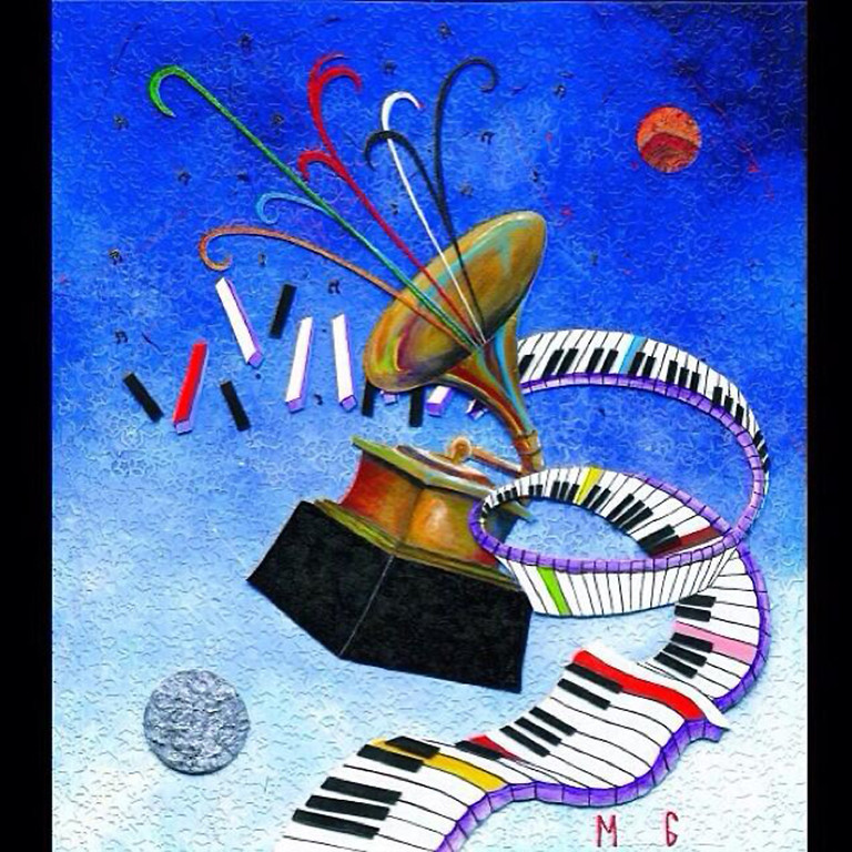 """. Marcus Glenn created the painting \""""One Nite Outta This World\"""" for the 2014 Grammy Awards."""