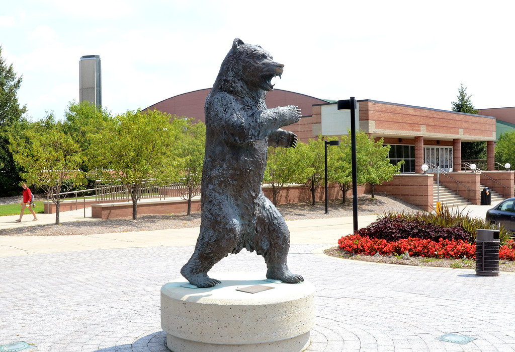 . A statue of a Grizzly Bear outside the O\'rena on the campus of Oakland University.   Monday, August 19, 2013.  The Oakland Press/TIM THOMPSON