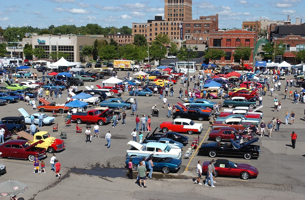 . Some of the classic cars parked at Lot 9 next to the Phoenix Center in downtown Pontiac, during the 2004 Woodward Dream Cruise, Saturday August 21, 2004.
