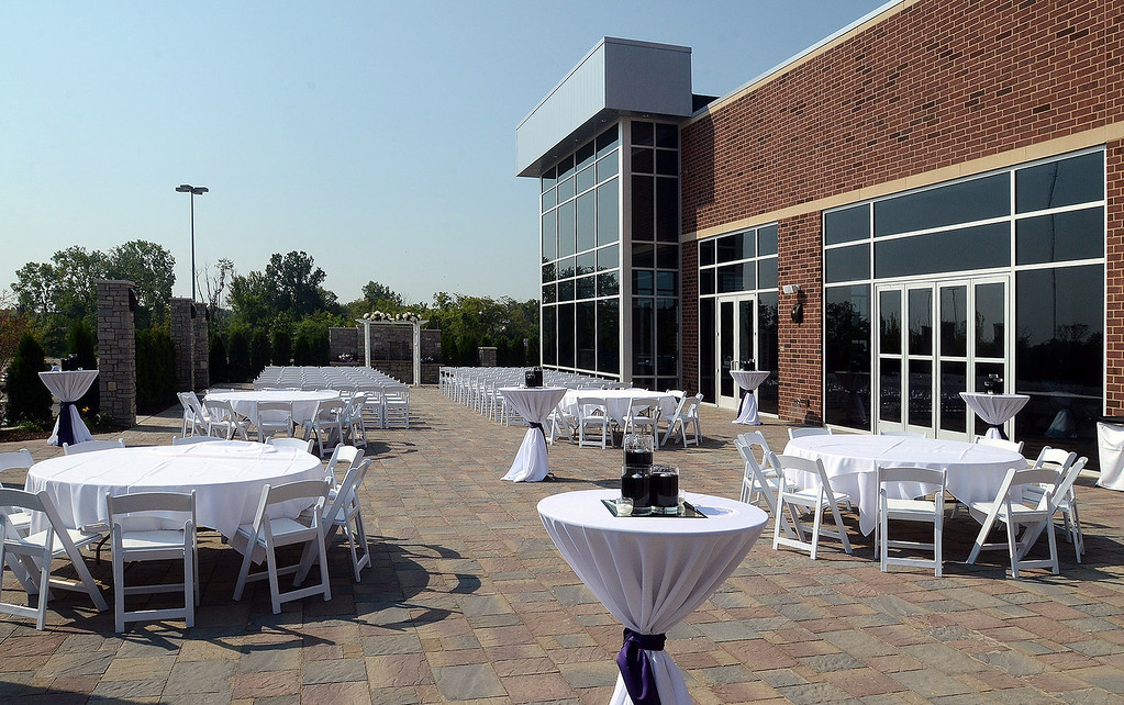 . The courtyard at the new Hyatt Place hotel, connected to the Suburban Collection Showplace in Novi, during their grand opening today, Tuesday August 20, 2013. (Oakland Press Photo:Vaughn Gurganian)