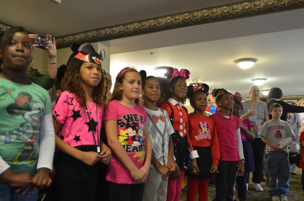 . Kids from Stevenson Elementary School Southfield getting ready to sing birthday songs for Mickey Mouse at the 85th birthday anniversary party organized by Disney On Ice.