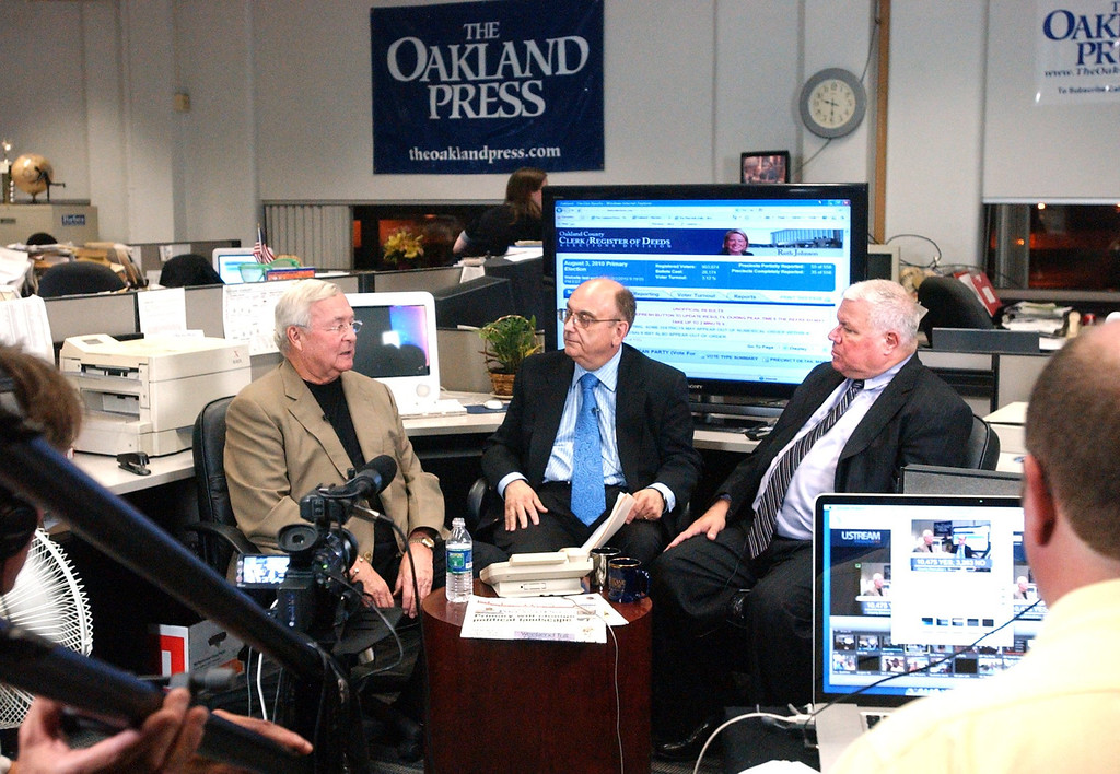 . Livestream Election, Primary night. l-r; L. Brooks Patterson, Oakland County Executive, Alan Adler, Editorial Page Editor, Glenn Gilbert, Executive Editor.  August 3, 2010.   The Oakland Press/TIM THOMPSON