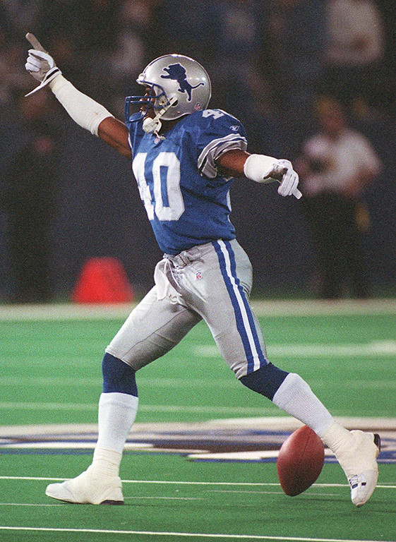 . The Detroit Lions Chidi Iwuoma celebrates after breaking up a fourth down pass to the Cowboys Raghib Ismail late in the fourth quarter assuring the Lions a 15-10 victory over the Dallas Cowboys Sunday January 6, 2002. It was the Lions last game at the Pontiac Silverdome, ending the season with a 2-14 record.