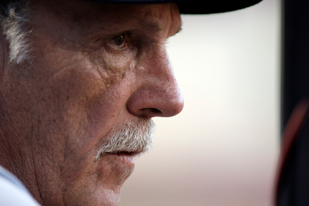. Detroit Tigers manager Jim Leyland watches from the dugout as his team plays the St. Louis Cardinals in a baseball game Tuesday, June 16, 2009, in St. Louis. The Cardinals won 11-2. (AP Photo/Jeff Roberson)