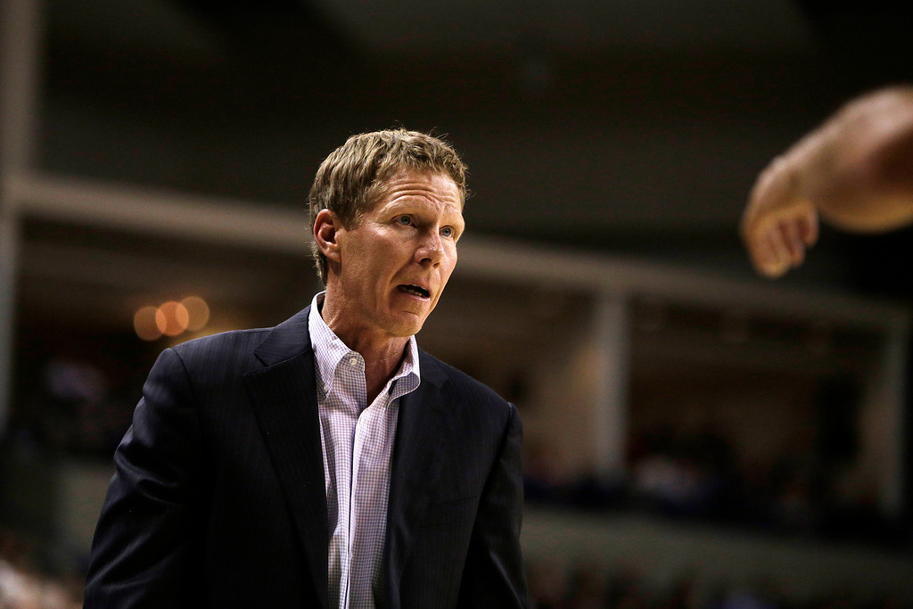. Gonzaga�s Head Coach Mark Few speaks with a referee during the first half of an NCAA basketball game against Oakland, in Spokane, Wash., on Sunday, Nov. 17, 2013. (AP Photo/Young Kwak)